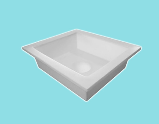 Gutter - round outlet 100mm - 370L x 440L x 100H